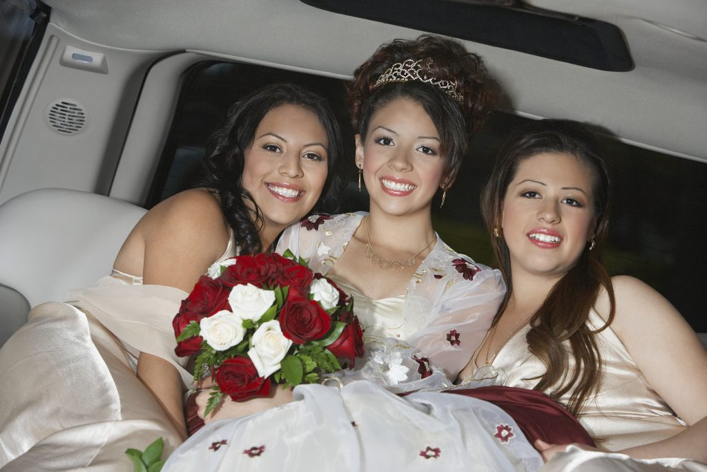 bride with girls in limo