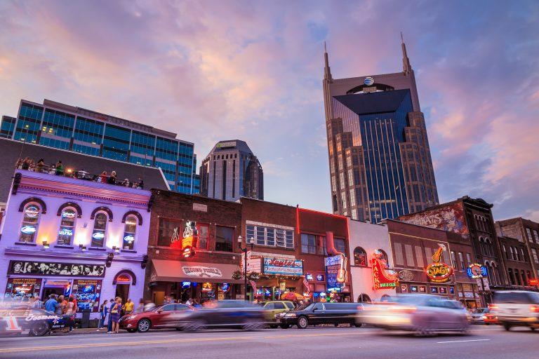 Downtown Nashville at twilight